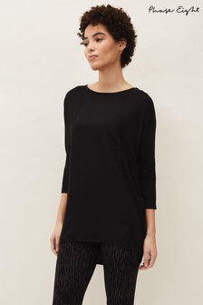 Phase Eight Black Colette Longline Lounge Top
