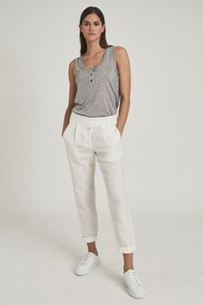 Reiss Lily Linen Blend Pleat Front Trousers