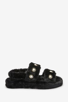 Faux Pearl Slider Slippers