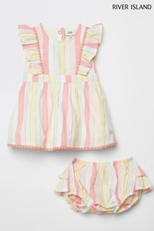 River Island Pink Stripe Dress With Knickers