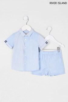 River Island Blue Light Blue Twill Short Sleeve Shirt 2 Piece Set