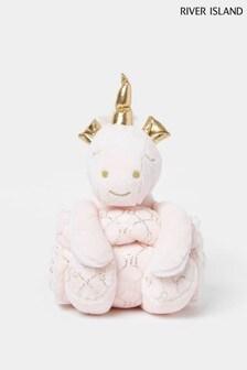 River Island Pink Unicorn Toy Blanket