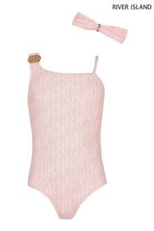 River Island Pink Monogram Towelling Swimsuit