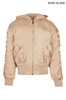 River Island Cream Hooded Ruched Bomber Jacket