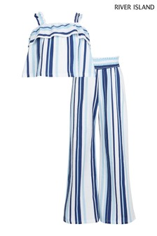 River Island Blue Light Stripe Frill Cami Top And Trousers Set