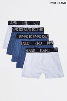 River Island Navy Monogram 5 Pack Boxers