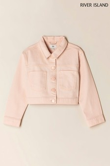 River Island Pink Pure Crop Denim Jacket