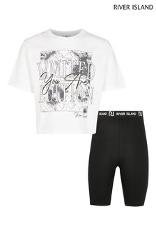 River Island White Tie Dye Graphic Shorts And T-Shirt Set