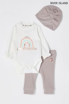 River Island Light Pink Rainbow Rose Print Bodysuit, Hat And Leggings Set