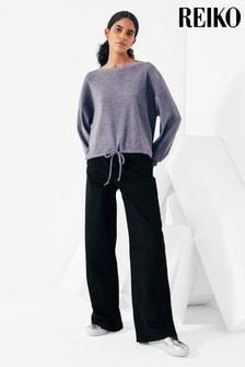 Reiko Womens Black Pilly Trousers