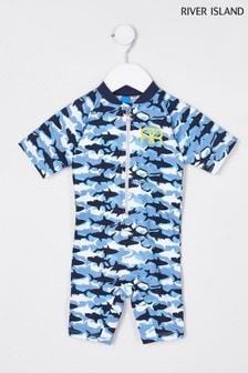 River Island Blue Camo Shark Shorts Swimsuit