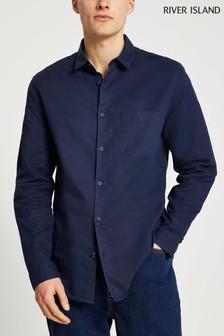 River Island Blue Linen Blend Pocket Regular Shirt