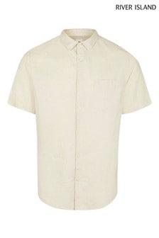 River Island Natural Linen Blend Pocket Regular Shirt