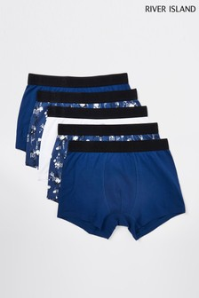 River Island Blue Floral Boxers 5 Pack