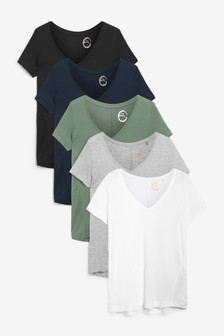 Slouch V-Neck T-Shirts 5 Pack