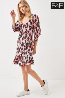 F&F Pink Oversized Animal Wrap Mini Dress