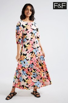 F&F Pink Chelsea Bloom Midi Dress