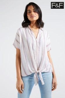 F&F Pink Stripe Tie Front Shirt