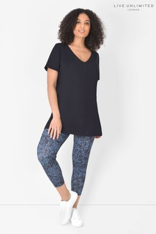 Live Unlimited Curve Cropped Blue Camo Athleisure Leggings