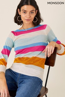 Monsoon Orange Stripe Jumper In Linen Blend