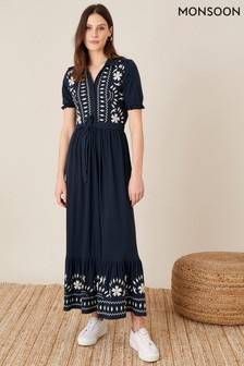 Monsoon Blue Heritage Embroidered Maxi Shirt Dress