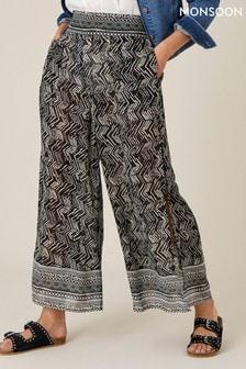 Monsoon Black Geo Print Split Side Culottes