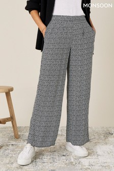 Monsoon Black Printed Trousers In Sustainable Viscose