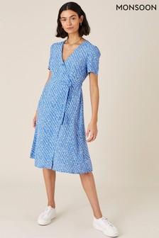 Monsoon Blue Melody Printed Midi Dress