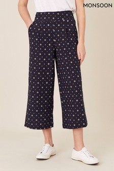 Monsoon Blue Dolly Printed Trousers In Pure Linen