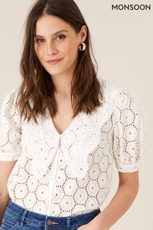 Monsoon Natural Mia Wide Collar Broderie Blouse