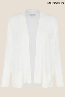 Monsoon Natural Lily Pocket Cardigan In Pure Linen