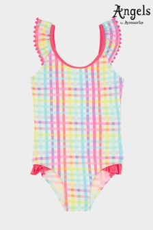 Angels by Accessorize Pink Rainbow Check Swimsuit