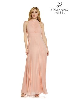 Adrianna Papell Pink Pleated Chiffon Gown