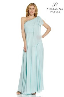 Adrianna Papell Green Pleated Chiffon Gown