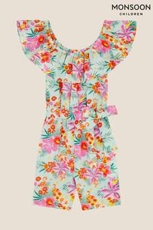 Monsoon Tropical Flamingo Playsuit in Linen Blend