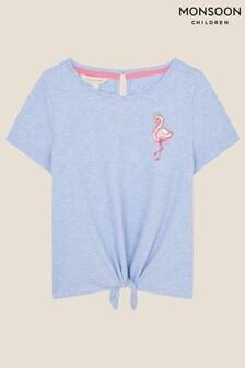 Monsoon Sequin Flamingo Tie Front Top