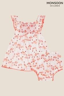 Monsoon Newborn Flamingo Dress and Briefs Set