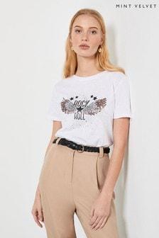 Mint Velvet White Rock Wing Slogan T-Shirt
