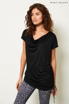Mint Velvet Black Longline Ruched T-Shirt