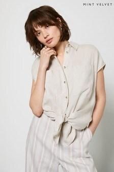 Mint Velvet Beige Linen Short Sleeve Shirt