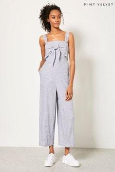 Mint Velvet Blue Knotted Linen Jumpsuit