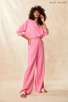 Mint Velvet Pink Linen Wide Leg Trousers