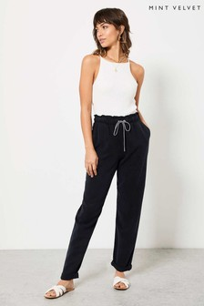 Mint Velvet Navy Drawstring Trousers