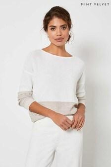 Mint Velvet White/Beige Sequinned Jumper