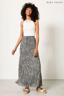 Mint Velvet Zoe Animal Crinkled Maxi Skirt