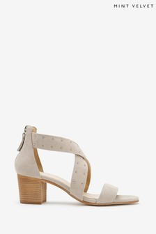 Mint Velvet Elsie Grey Suede Stud Sandals