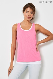 Mint Velvet Pink Layered Cotton Vest