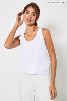 Mint Velvet White Cotton Bow Back Vest