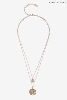 Mint Velvet Gold Tone Layer Coin Necklace