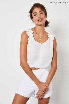 Mint Velvet White Linen Ruffle V-Neck Cami